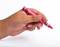 孩子红色蜡笔 免版税库存图片