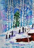 孩子绘的冬天森林 库存照片