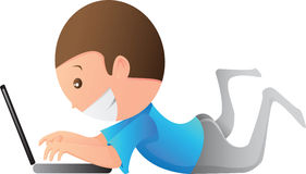 孩子膝上型计算机作用 库存例证