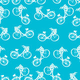 孩子自行车的无缝的样式 库存照片