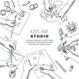 孩子艺术课工作过程 导航绘画,图画孩子的剪影例证 工艺和创造性概念 皇族释放例证