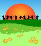 孩子草坪作用  库存例证