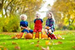 孩子获得乐趣在南瓜补丁 免版税库存照片