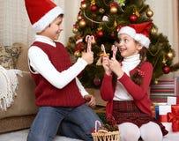 孩子获得乐趣在圣诞节装饰在家,愉快的情感,寒假概念 免版税库存照片