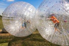 孩子获得乐趣在Zorbing球 免版税库存图片