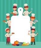 孩子菜单框架 儿童厨师烹调与切板,餐馆厨师和砍食物动画片传染媒介例证 库存例证