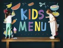孩子菜单烹调断送膳食概念 免版税库存图片