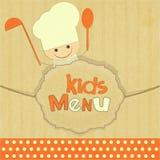 孩子菜单设计与微笑的主厨的 库存图片