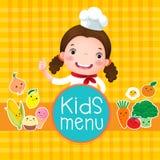 孩子菜单设计与微笑的女孩厨师的 库存图片