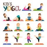 孩子被设置的瑜伽象 库存图片