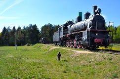 孩子观看一列火车 免版税库存图片