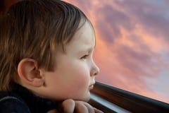 孩子观看一只鸟 免版税库存图片