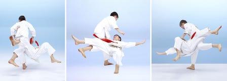 孩子训练柔道摔 库存图片