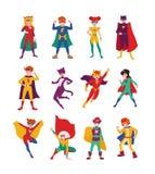 孩子超级英雄的汇集 捆绑男孩和女孩有超级大国的 设置强和勇敢儿童佩带 向量例证
