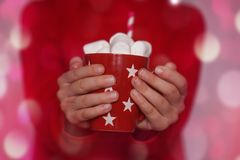 孩子递拿着红色杯子热的可可粉或巧克力用蛋白软糖 圣诞节概念 免版税库存图片