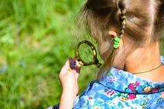 孩子通过放大镜探索草在草甸 探索花的女孩通过扩大化 免版税库存图片