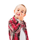 孩子采摘鼻子 免版税库存照片