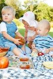 孩子野餐 免版税库存图片
