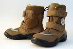 孩子鞋子冬天 免版税库存图片