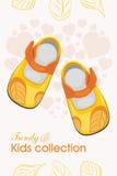 孩子鞋子 时髦收藏 设计的标签 库存例证