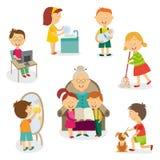 孩子,做家庭活动,差事的孩子 库存例证
