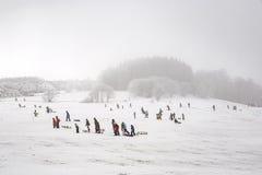 孩子滑冰在冬天跑的雪橇 免版税库存照片