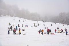 孩子滑冰在冬天跑的雪橇 免版税库存图片