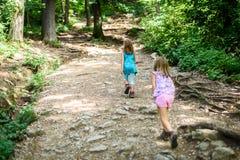孩子-双女孩在山步行 库存图片