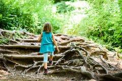 孩子-双女孩在山步行 库存照片