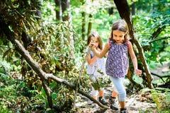 孩子-双女孩在山步行 免版税库存照片