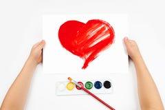 孩子画心脏 库存照片