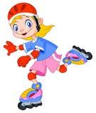 孩子直排轮式溜冰鞋 库存图片