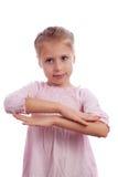孩子仿效女小学生 库存照片