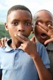 孩子画象在庭院路,南非的 库存照片