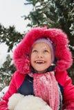 孩子画象有雪的在面孔 库存图片