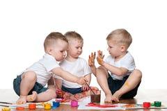 绘画孩子 免版税库存图片