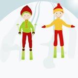 孩子skiers1 免版税库存照片
