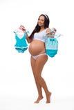 婴孩孕妇想知道的性别:男孩、女孩或者孪生 免版税库存图片