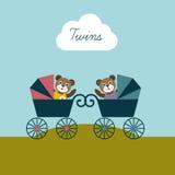 婴孩孪生出生卡片 新出生的受欢迎的概念 儿童背景 免版税库存图片