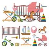 婴孩室内部和传染媒介套孩子的玩具 在平的样式的例证 被隔绝的设计元素,象 库存例证