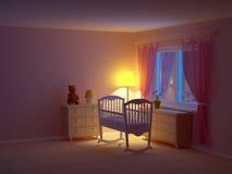 婴孩室摇篮夜 向量例证