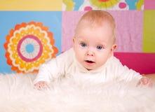 婴孩小女孩彩色照片 免版税图库摄影