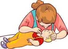 婴孩急救 库存图片