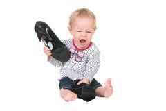 婴孩恼怒 库存照片