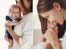 婴孩愉快的母亲纵向 免版税图库摄影