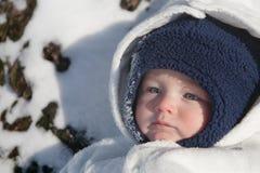 婴孩愉快的雪 库存照片
