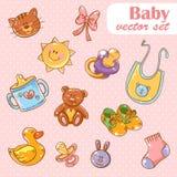 婴孩玩具逗人喜爱的动画片集合背景 库存图片