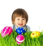 婴孩用复活节彩蛋 免版税库存图片