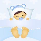 婴孩男性睡觉 库存照片