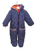 婴孩的孩童用防雪装在白色背景的一个挂衣架的 免版税库存图片